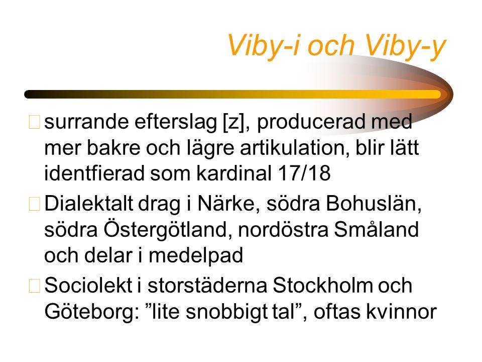 Viby-i och Viby-y surrande efterslag [z], producerad med mer bakre och lägre artikulation, blir lätt identfierad som kardinal 17/18.